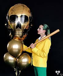 Фольгированный череп и шары хром