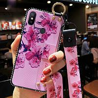 Чехол для Xiaomi redmi Note 7 силиконовый с ремешком цветы фиолетовый