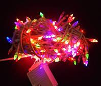 Гирлянда Нить LED 500 мульти, белый провод, Конус-рис, 20,60 м
