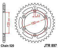 JTR897.44 Звезда задняя для  KTM 125/200/250/300/350/400/450/500/530 SX/SXF/EXC (Все модели) аналог SS 1-3547