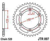 JTR897.44 Звезда задняя для  KTM 125/200/250/300/350/400/450/500/530 SX/SXF/EXC (Все модели) аналог SS 1-3547, фото 2