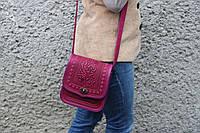 Женская кожаная сумка ручной работы (метод горячего тиснения), розовая кожаная сумка, фото 1