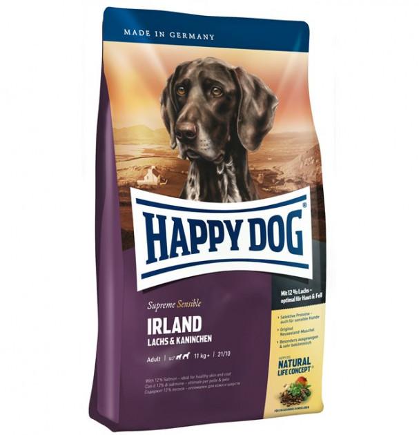 Сухой корм для собак с аллергией и проблемами кожи Happy Dog Irland Sensible с лососем и кроликом 4 кг