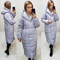 Модное пальто -кокон на зиму светло-серого цвета, арт М500