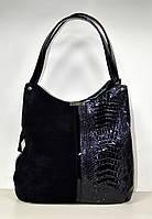 Черная женская сумка от украинского производителя замша и экокожа
