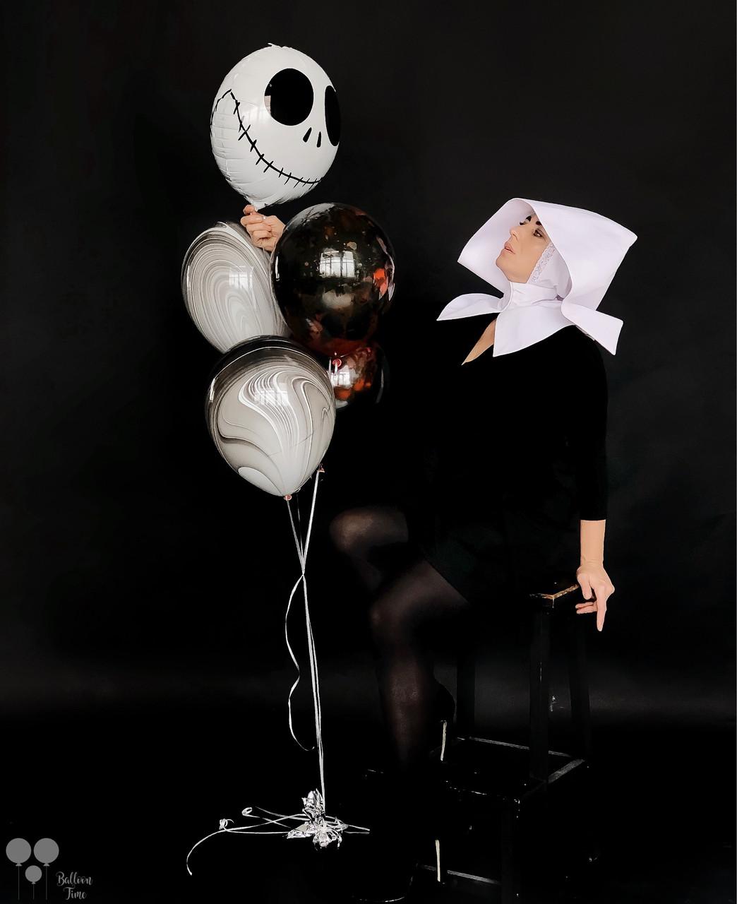 Фольгированный шар страшилка, агаты и шары с краской