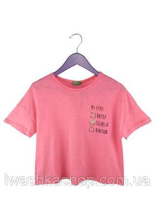 Модная укороченная футболка с надписью на девочек 11 - 12 лет, р. 160, United Colors of Benetton