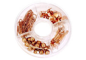 Набор канцелярский: 20 скрепок, 15 круглых кнопок, 4 биндера 19мм, 35 кнопок. Круглая коробка