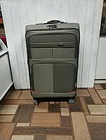 Дорожня валіза на колесах сіро-зелена