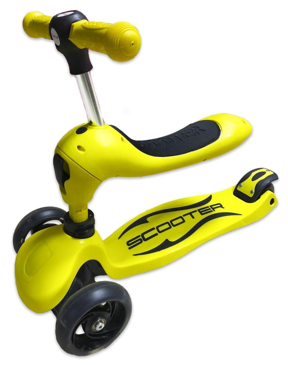 Трехколесный Самокат беговел Scooter Трансформер 2в1 Желтый