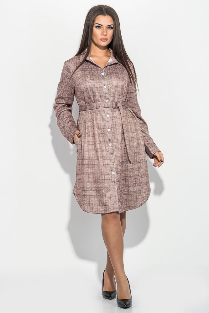 Пастельно-розовое платье в клетку