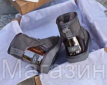 Женские угги UGG Australia Classic Mini Grey Metallic оригинальные мини Угги Австралия серые, фото 3