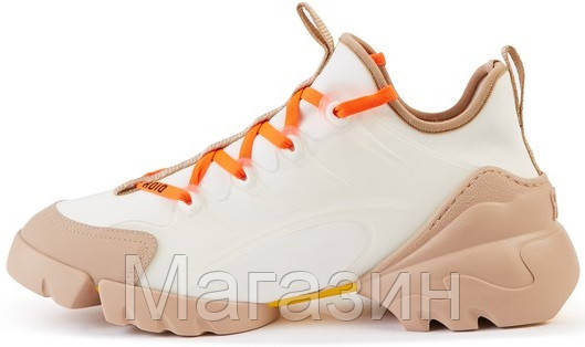 Женские кроссовки Dior D-Connect White/Orange Диор белые