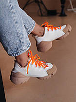 Женские кроссовки Dior D-Connect White/Orange Диор белые, фото 3