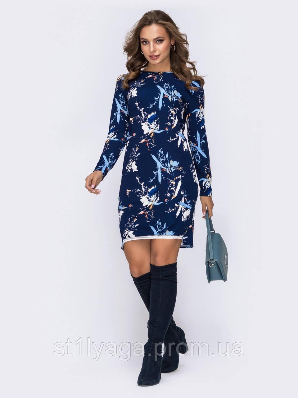 Стильное платье с удлинённой спинкой в флористический принт