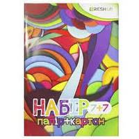 Набір кольорового паперу і картону А4, 7+7 аркушів FRESH UP FR-0007-7 (25 шт)0-27-4,5см
