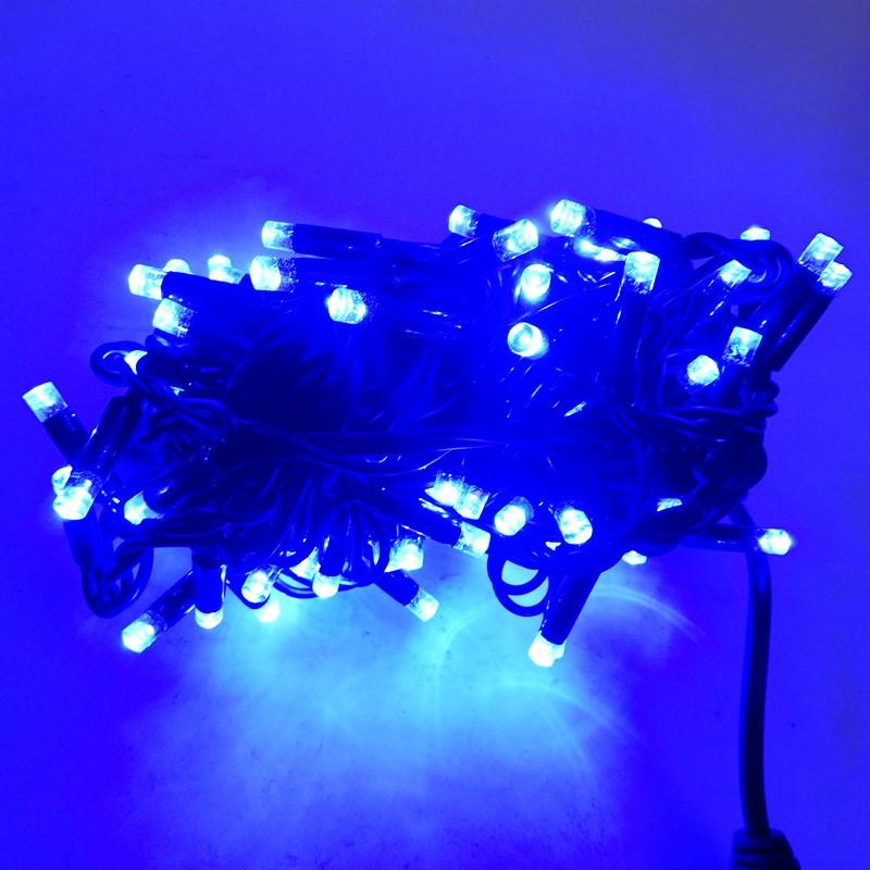 Гирлянда уличная Нить, 120 led, синяя, чёрный провод, 9м.