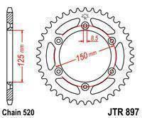 JTR897.46 Звезда задняя для  KTM 125/200/250/300/350/400/450/500/530 SX/SXF/EXC (Все модели) аналог SS 1-3547, фото 2
