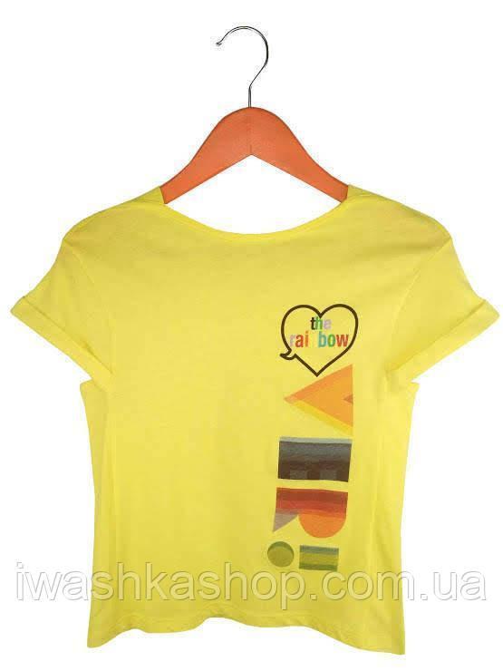 Брендовая желтая футболка на девочек 11 - 12 лет, р. 160, United Colors of Benetton