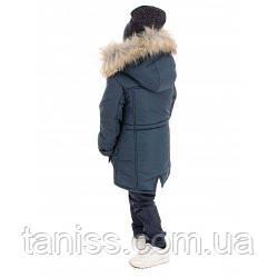 Зимняя куртка парка Владимир,  для мальчиков, мех искуств. рост 104,110,116,122,128,134,140,146 бирюза