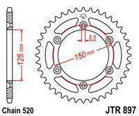 JTR897.49 Звезда задняя для  KTM 125/200/250/300/350/400/450/500/530 SX/SXF/EXC (Все модели) аналог SS 1-3547, фото 2