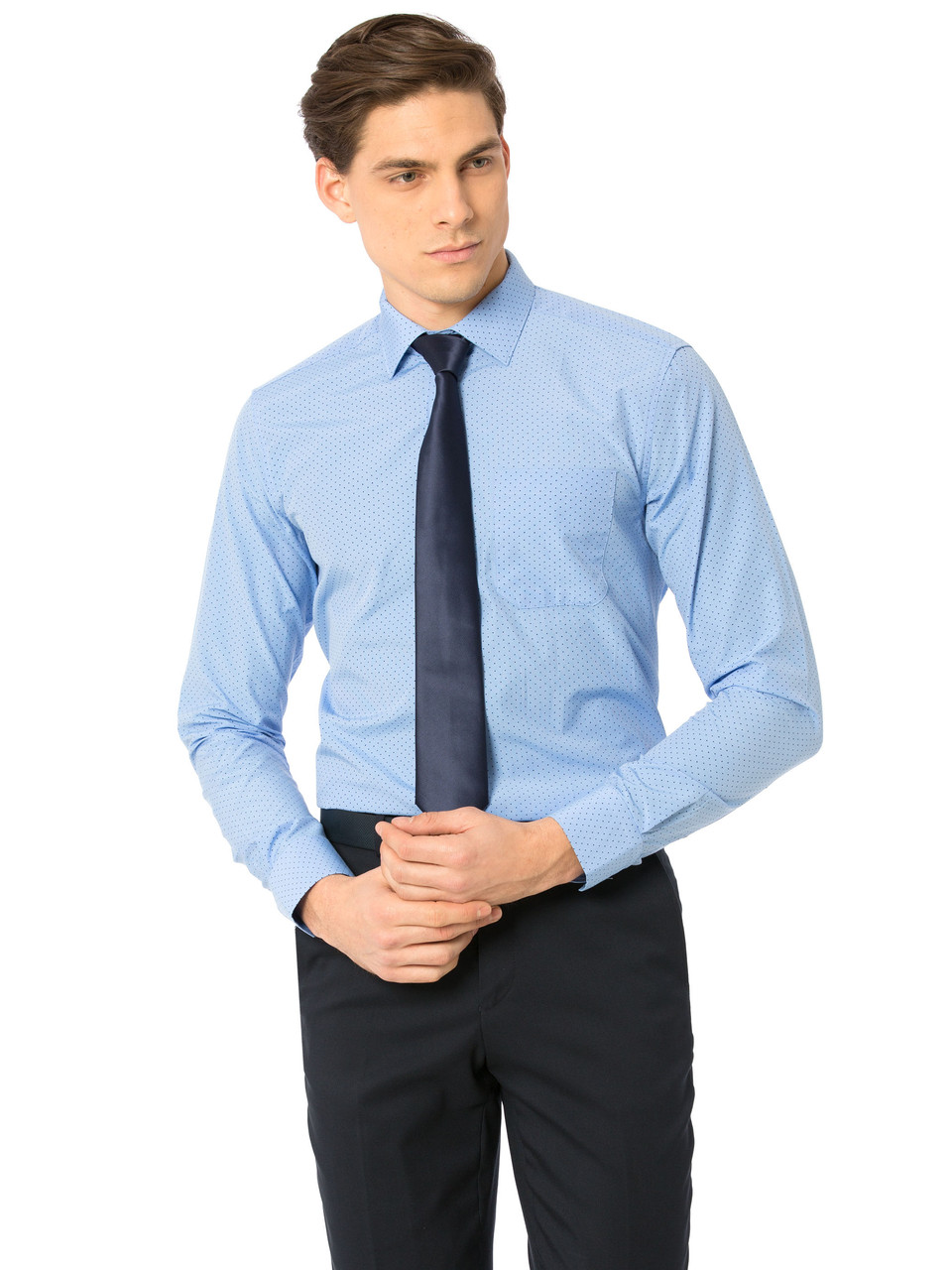 Голубая мужская рубашка LC Waikiki / ЛС Вайкики в синюю точку, с карманом на груди
