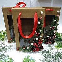 Коробка подарункова з пакетом 350х210х100 мм. з декором, фото 1