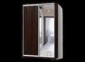 Шкаф-Купе Двухдверный Классик-4 ДСП Зебрано Темный, Зеркало (Luxe-Studio TM)