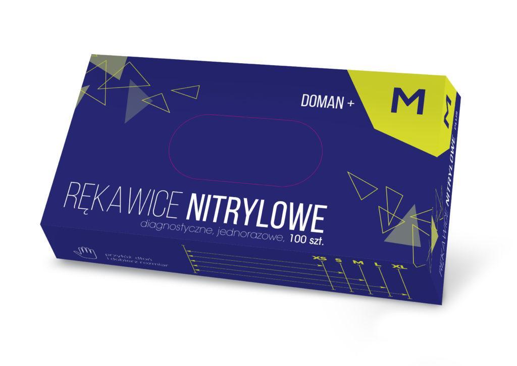 Рукавички медичні оглядові нітрилові нестерильні DOMAN+  - 100 шт/уп, M