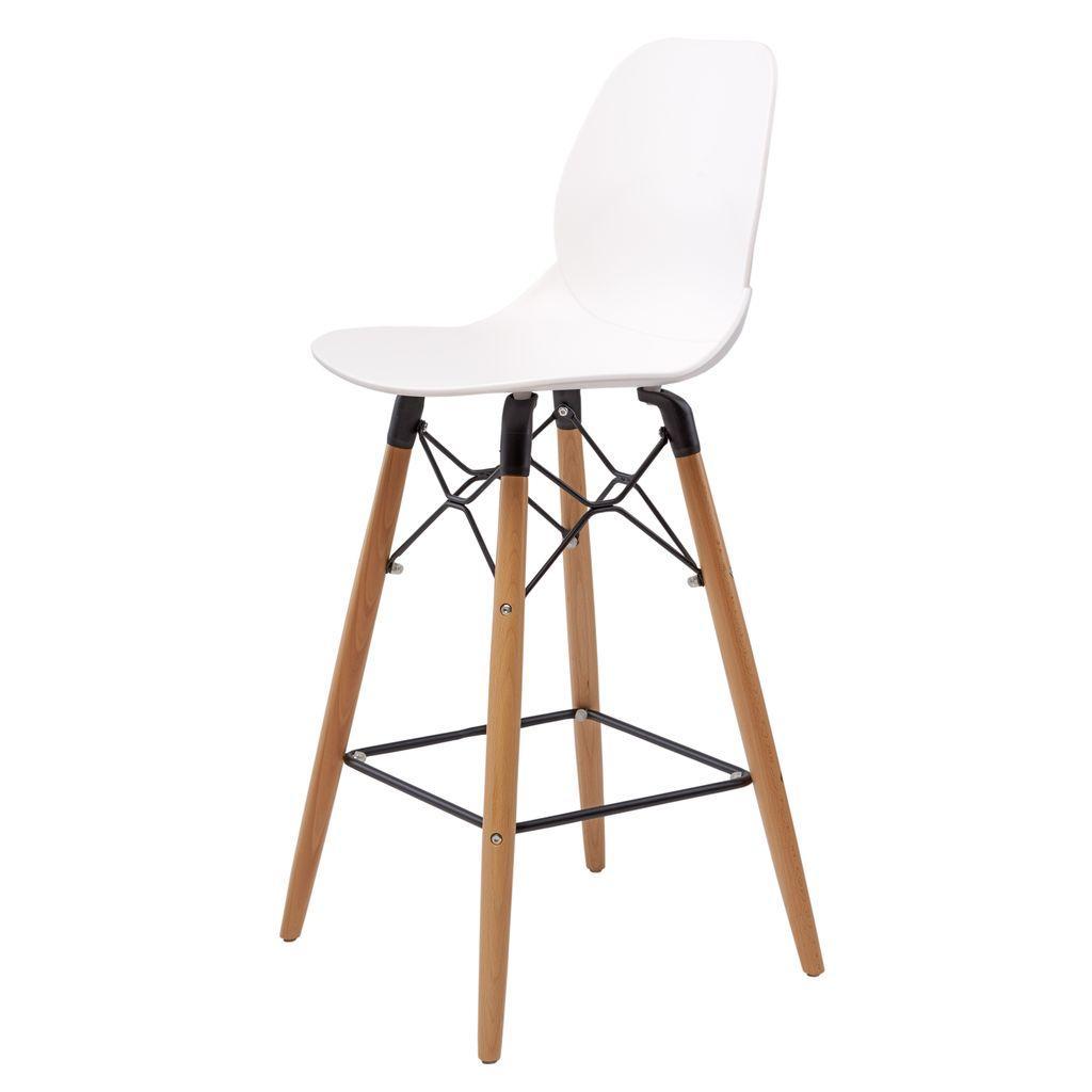 Полубарный стул FRIEND (Френд) белый пластик от Concepto ножки дерево