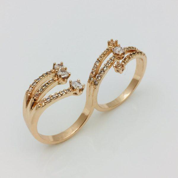 Кольцо женское на 2 пальца, размер 16, 17, 18
