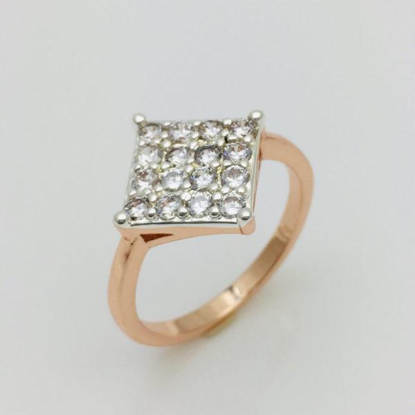 Кольцо женское Ромб двухцветный, размер  16, 17, 18, 19, 20, 21