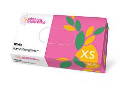 Рукавички медичні оглядові нітрилові нестерильні DOMAN рожеві - 100 шт/уп, XS