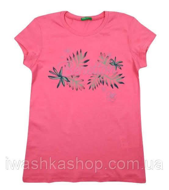 Стильная розовая футболка с объемной надписью на девочек 8 - 9 лет, р. 140, United Colors of Benetton
