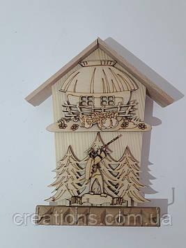 Ключниця дерев'яна настінна подарунок будиночок 21 см.