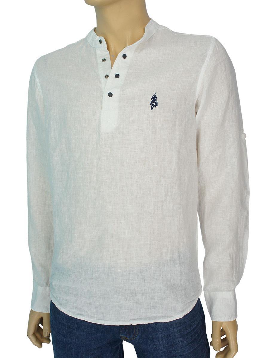 Белая льняная рубашка Class Polo CP02223NF16 White для мужчин