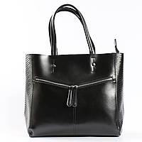 """Кожаная женская вместительная сумка с тиснением """"Иветта Black"""""""