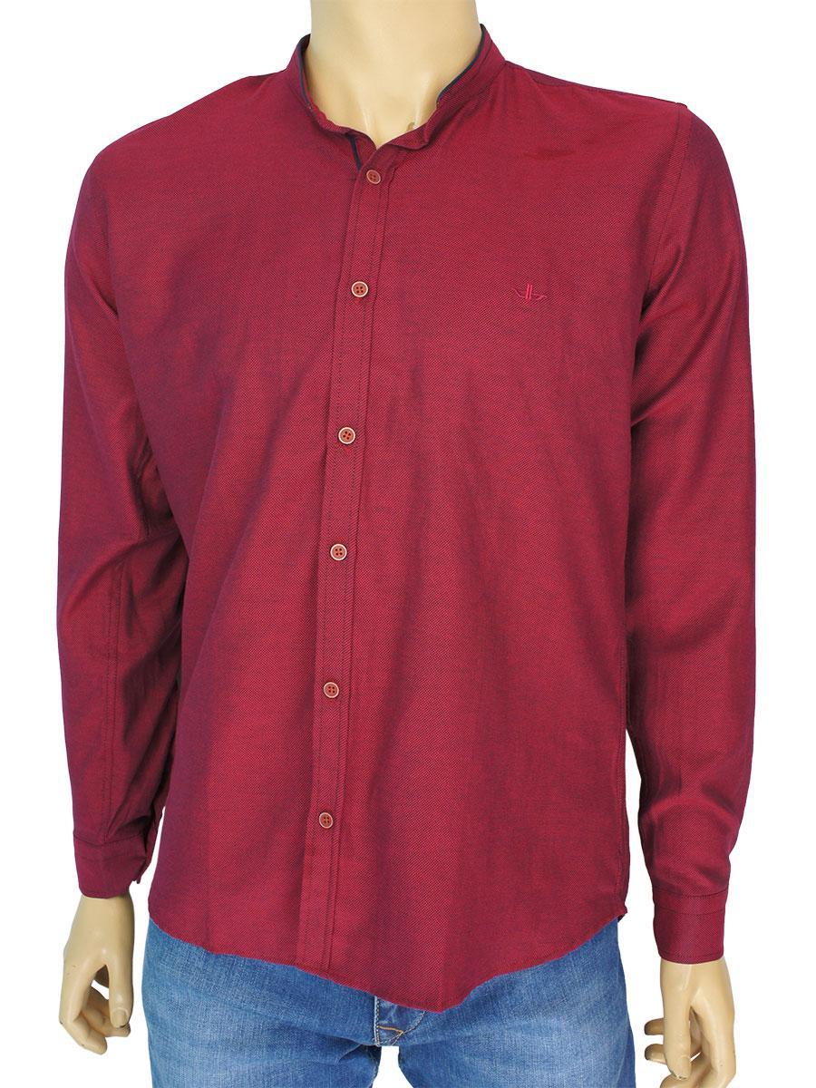 Мужская бордовая рубашка Desibel 10.089 C-37 воротник-стойка