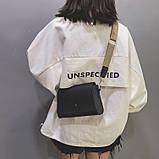 Женская классическая сумочка кросс-боди на широком ремешке 5288/11 черная, фото 5