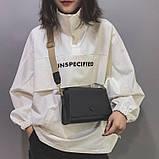 Женская классическая сумочка кросс-боди на широком ремешке 5288/11 черная, фото 3