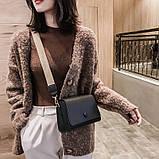 Женская классическая сумочка кросс-боди на широком ремешке 5288/11 черная, фото 6