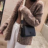 Женская классическая сумочка кросс-боди на широком ремешке 5288/11 черная, фото 7