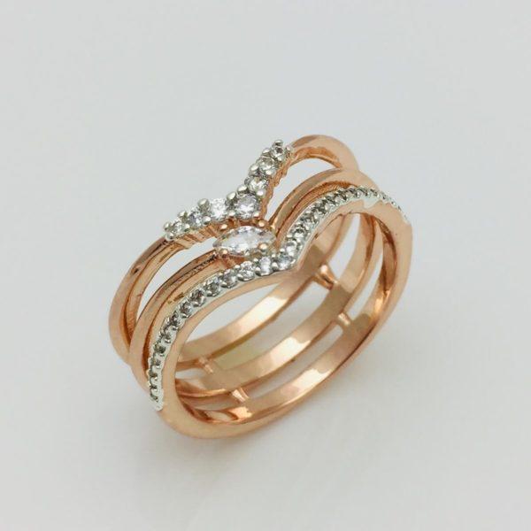 Кольцо женское Принцесса , размер 16, 17, 18, 19, 20, 21 позолота+ родий