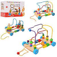 Деревянная игрушка Центр развивающий MD 1241 (33шт) лабир.на пров,пирамид-ключ,3в, в кор,18-24-24см