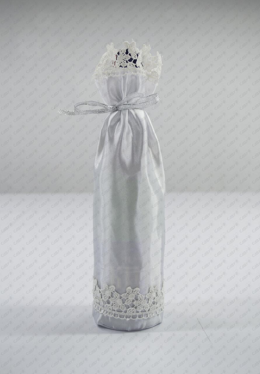 Атласний мішечок на пляшку шампанського для сублімації з декоративною обробкою