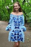 """Сукня вишита """"Калина"""" міні, блакитний колір, льон"""