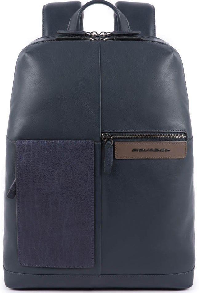 Кожаный городской рюкзак Piquadro Vanguard синий 14 л