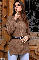 Свитер женский свободный удлиненный вязка размер 42-48 универсальный Турция