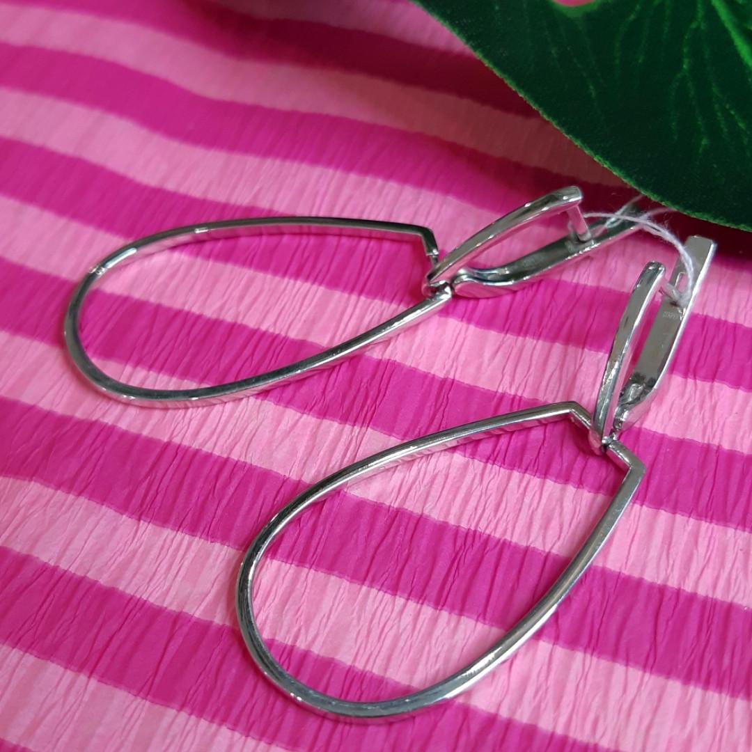 Серебряные серьги-подвески без камней - Родированные серебряные серьги-висюльки
