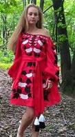 """Сукня вишита """"Калина"""" міні,  червоний колір, льон, фото 1"""